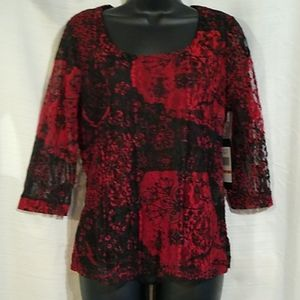 NWT Kiara Lacy Overlay Black Red Blouse Top M